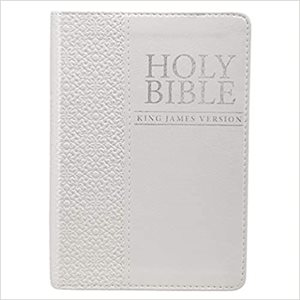 KJV Holy Bible, Compact Bible - White Faux Leather Bible w / Ribbon Marker, Red Letter Edition, King James Version