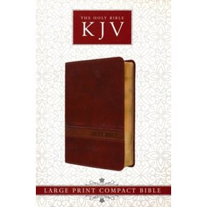 The Holy Bible - King James Version (Large Print Compact Bible, Brown Faux Leather Bible w / Ribbon Marker, Red Letter Edition)