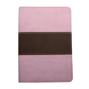 The Holy Bible - King James Version (KJV) - Compact Bible - Pink and Brown Faux Leather Bible w / Ribbon Marker, Red Letter Edition